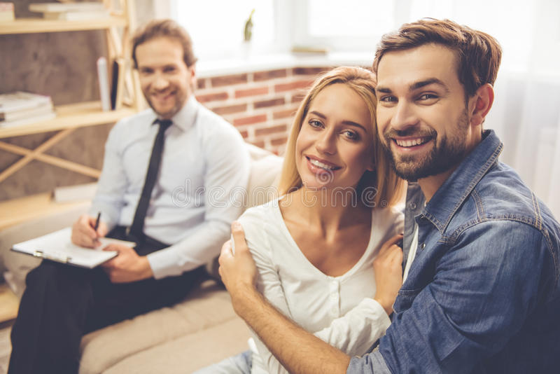 Couple at the psychologist stock photography