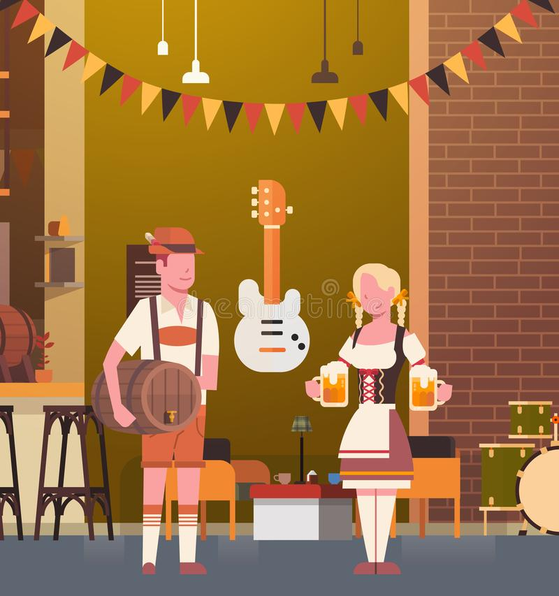 Couple In Pub Wearing Traditional Clothes Drink Beer In Bar Oktoberfest Party royalty free illustration