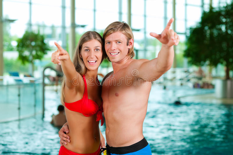 Download Couple In Public Swimming Pool Stock Photo - Image: 19485662