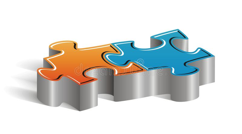 Couple of puzzle pieces. Beautiful concept couple of puzzle pieces to insert your marketing text stock illustration