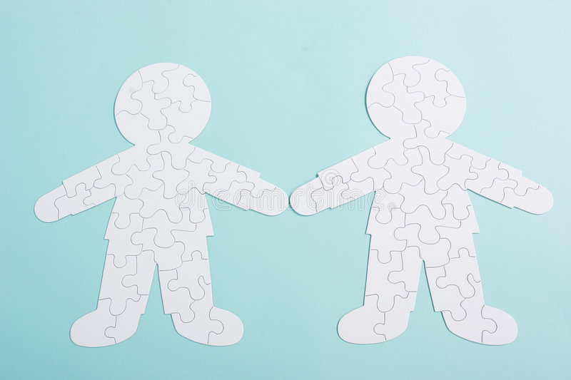 Couple puzzle of relationships royalty free stock photo