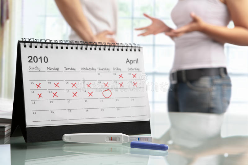 Couple quarrel with negative pregnancy test royalty free stock images