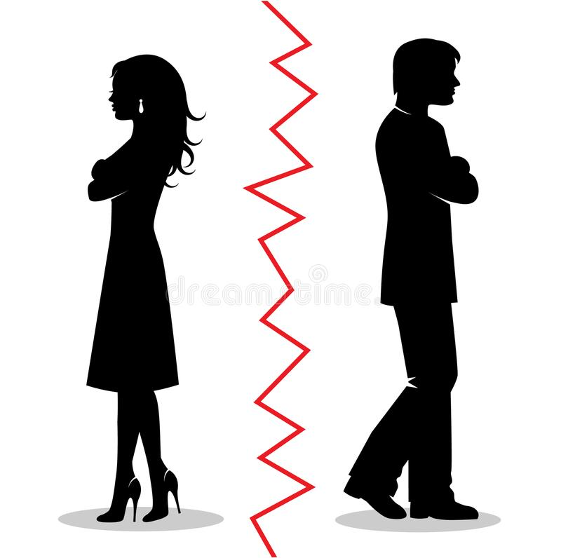 The couple quarreled and turned away from each other. Silhouettes of a heterosexual couple quarreled and turned away from each other and between the pair a red stock illustration