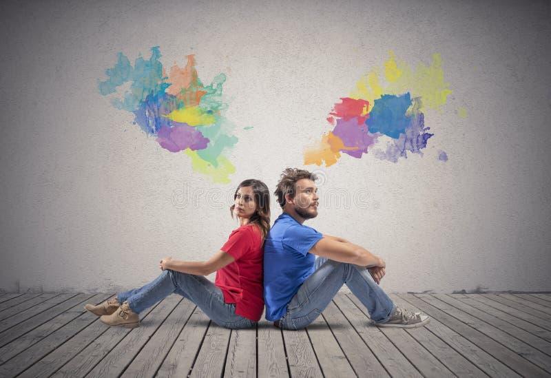 Couple qui pense images libres de droits