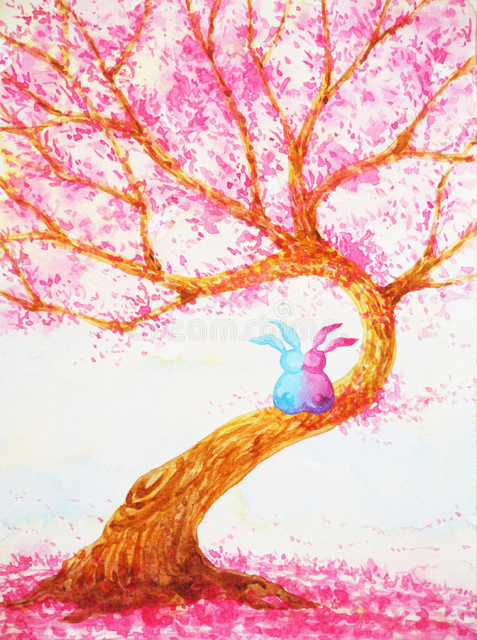 Couple rabbits lover sitting under love tree valentines day watercolor painting stock illustration