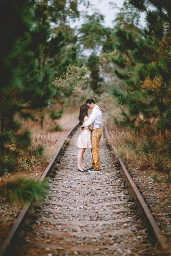 Couple on Railroad royalty free stock photography