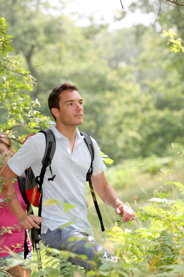 Couple rambling in countryside royalty free stock image