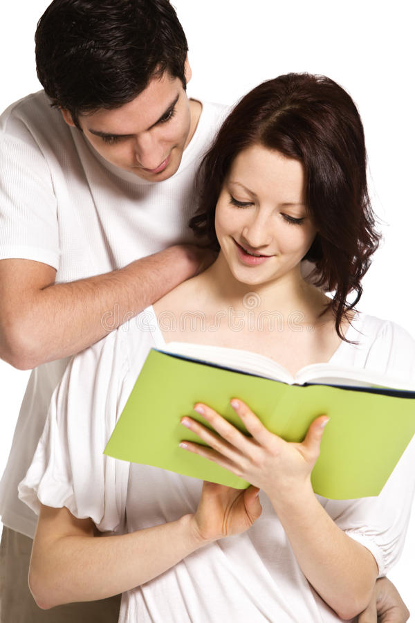 Download Couple reading together. stock photo. Image of relaxing - 18596248