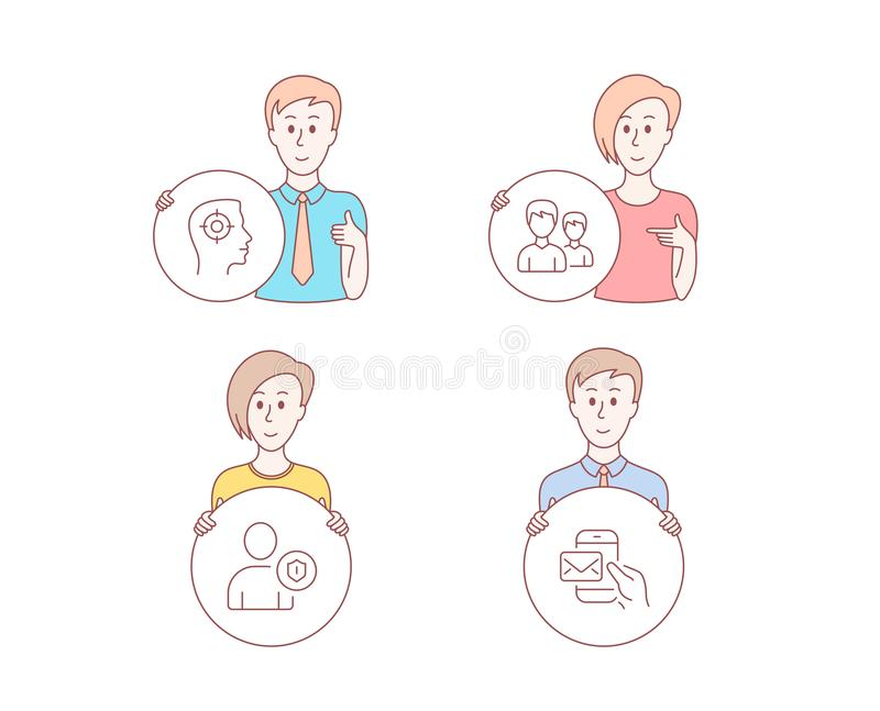 Couple, Recruitment and Security icons. Messenger mail sign. Two male users, Headhunter aim, Person protection. Vector. People set of Couple, Recruitment and stock illustration