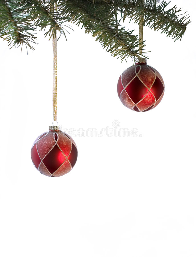 Download Couple Of Red Christmas Balls With Place For Writing Stock Photo - Image: 346602