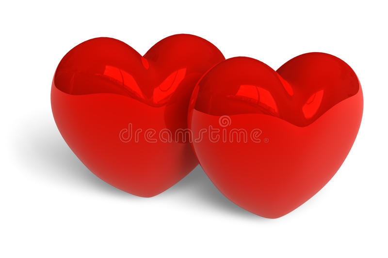 Download Couple Of Red Glossy Hearts Stock Illustration - Image: 12561175