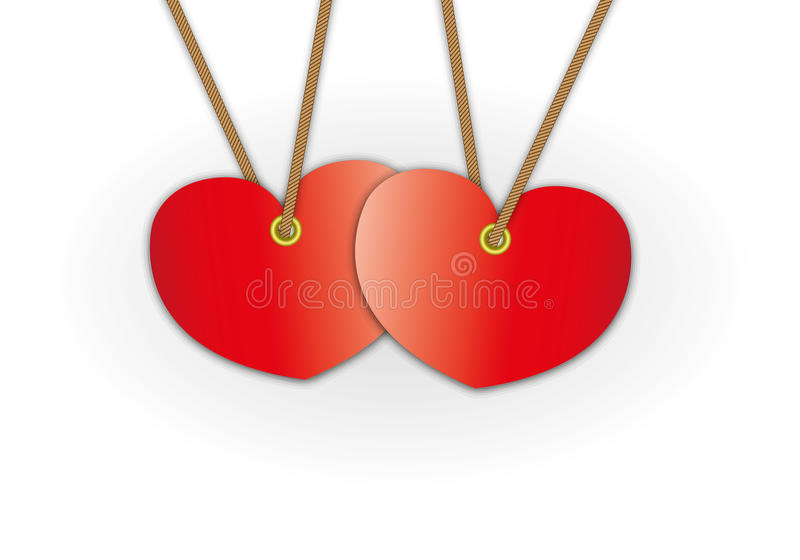Couple red heart pattern advertise. For label price tag and bundle keys royalty free illustration