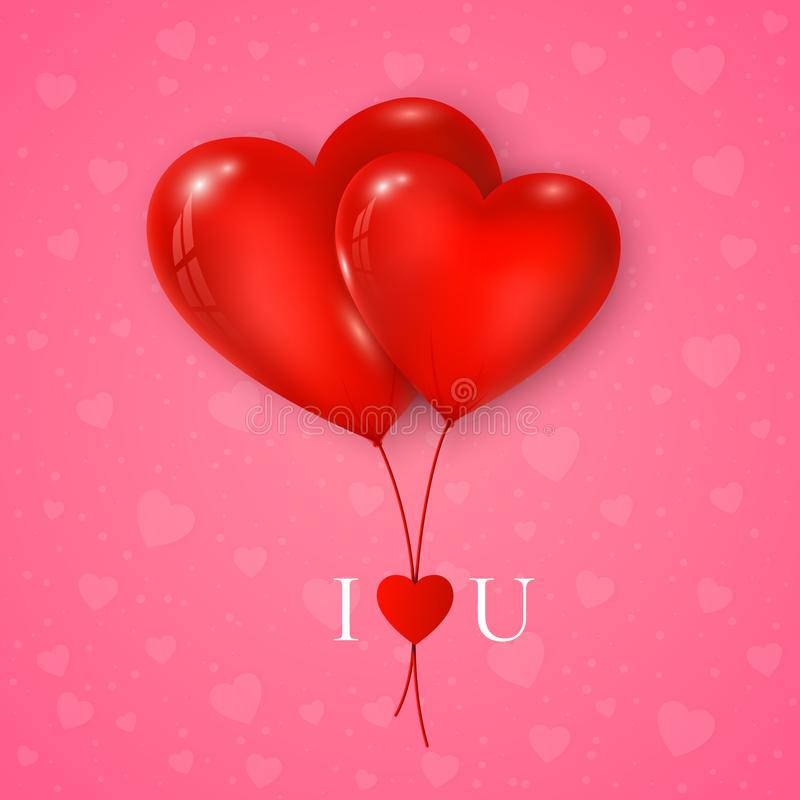 Couple of red hearts balloon with message I Love You. Valentines day greeting card on pink background. Vector royalty free illustration