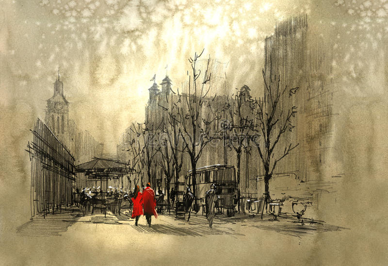 Couple in red walking on street of city stock illustration