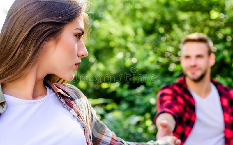 Couple relationship. Follow me. Couple outdoors nature defocused. Starting relationship. Couple in love meeting. Put. Yourself forward in way that is respectful stock photos