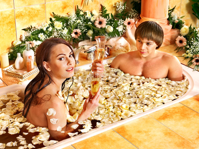Couple Relax  At Spa With Flower. Stock Images