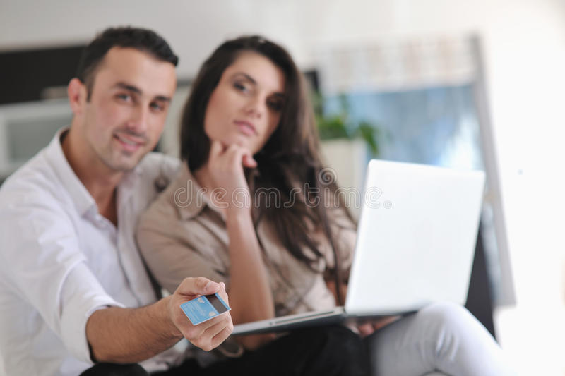 Download Couple Relax And Work On Laptop Computer At Home Stock Image - Image: 22143219