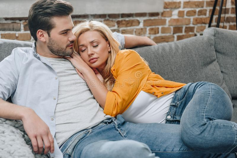 young beautiful couple relaxing stock photos
