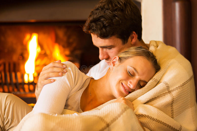 Couple relaxing home royalty free stock image