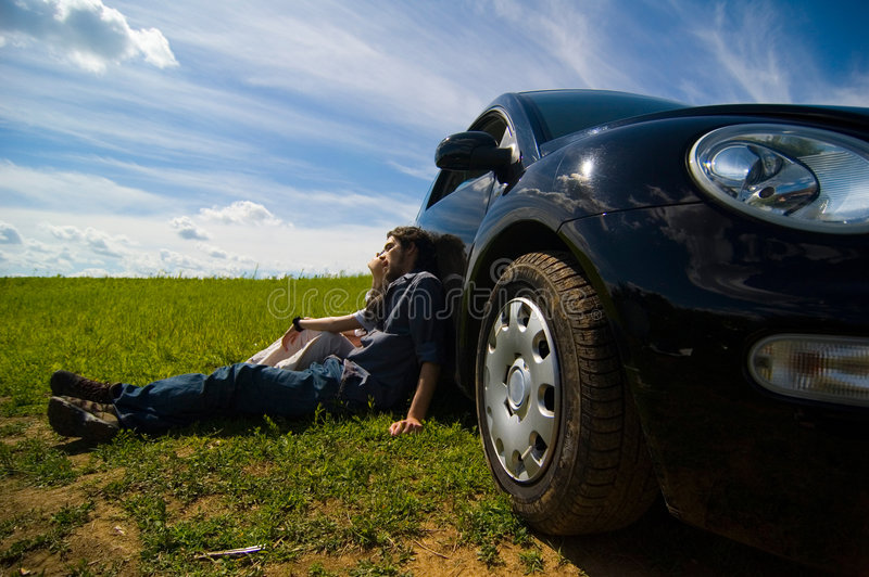Couple Relaxing On A Road Trip stock photography