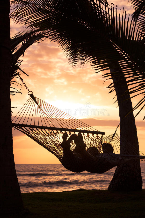 Couple Relaxing In Tropical Hammock Stock Photo Image