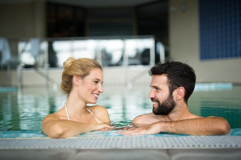 Couple relaxing at wellness spa resort. Happy married couple relaxing at wellness spa resort royalty free stock photography