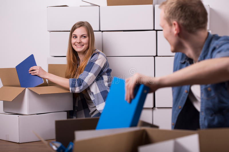 Couple relocating to new house stock image