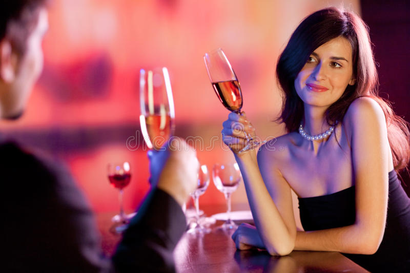 Couple at restaurant stock images