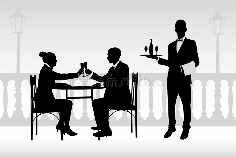 Couple in the restaurant vector illustration
