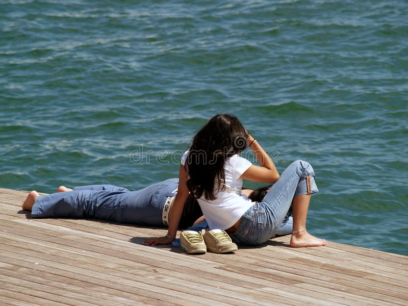 Couple resting royalty free stock photography