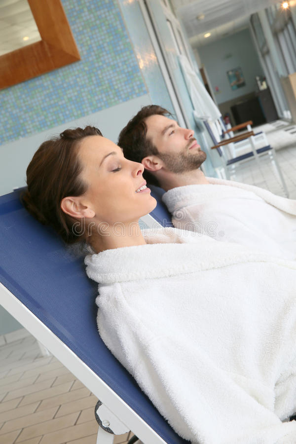 Couple resting after spa treatment stock photos