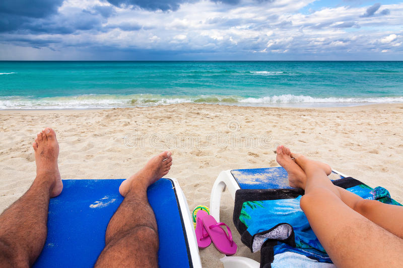 Download Couple Resting On A Tropical Cuban Beach Stock Photo - Image: 27580054