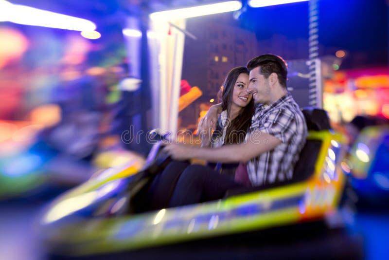 Couple Ride Bumper Car Stock Photo