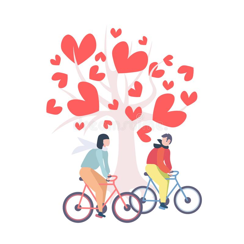 Couple riding bicycle happy valentines day concept man woman cycling bikes under love tree with leaves red heart shapes vector illustration