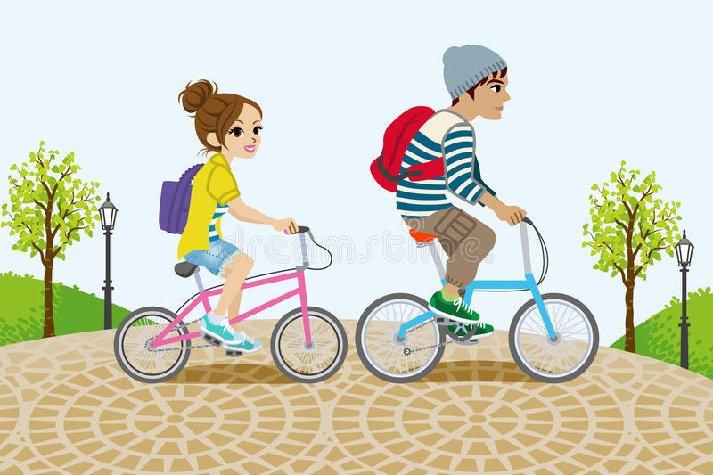 Couple Riding Bicycle in the Park stock illustration