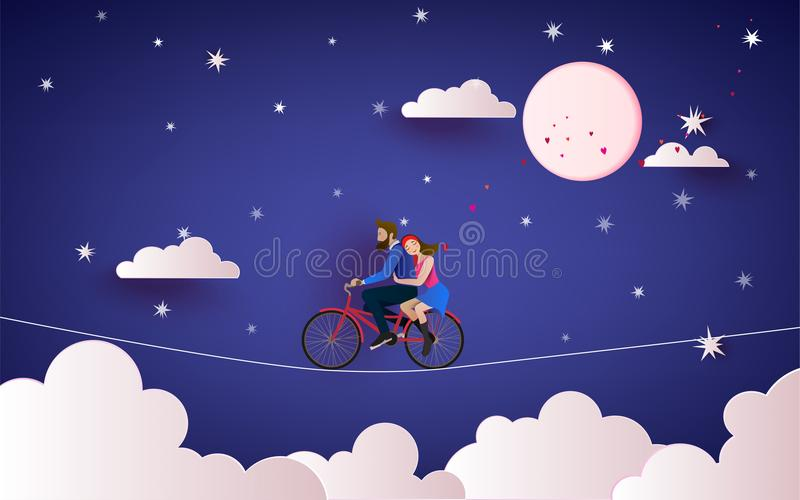 A Couple riding bicycle to the night sky. Love concept. Happy Va. Lentine`s Day wallpaper, poster, card. Vector illustration stock illustration