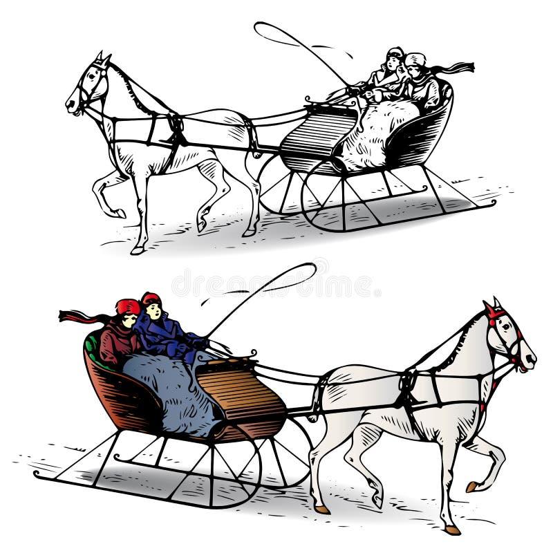 Couple riding a horse in a sleigh in winter, cartoon on white ba stock photography