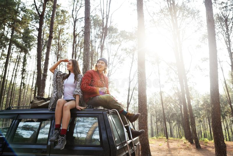 Couple on a road trip royalty free stock photography