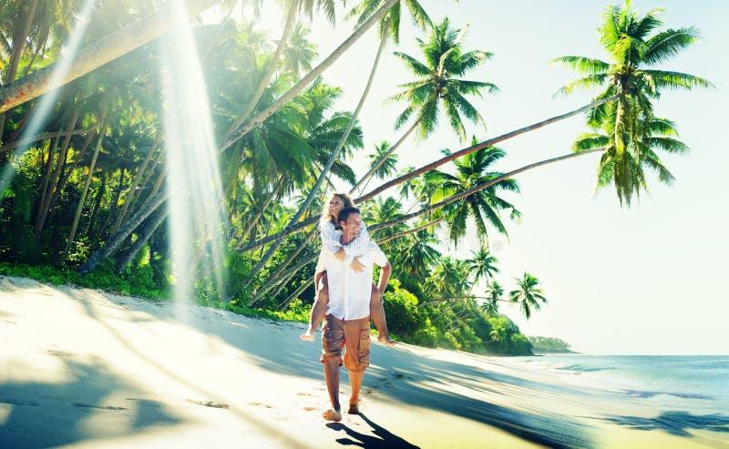 Couple Romance Beach Love Island Concept.  stock images