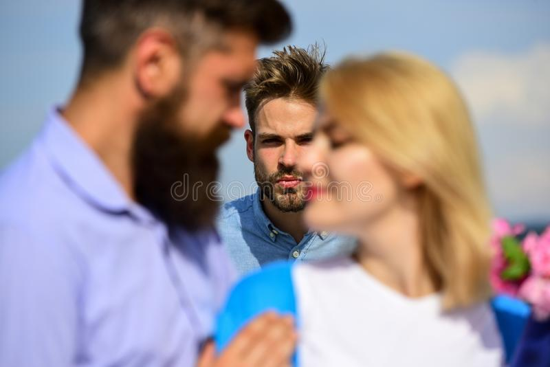 Couple romantic date lovers flirting. Lovers meeting outdoor flirt romance relations. Broken heart concept. Couple in stock photo