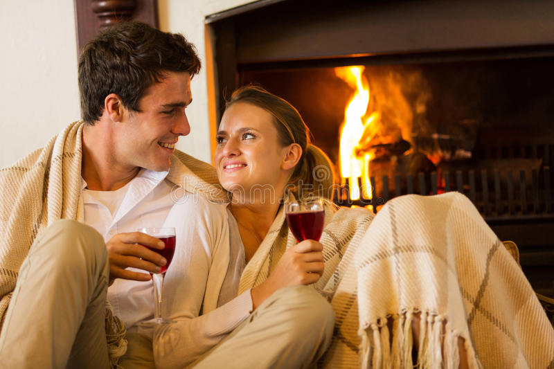 Couple romantic evening. Beautiful couple spend romantic evening drinking wine royalty free stock photography