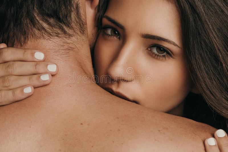 Couple in a romantic moment stock photos