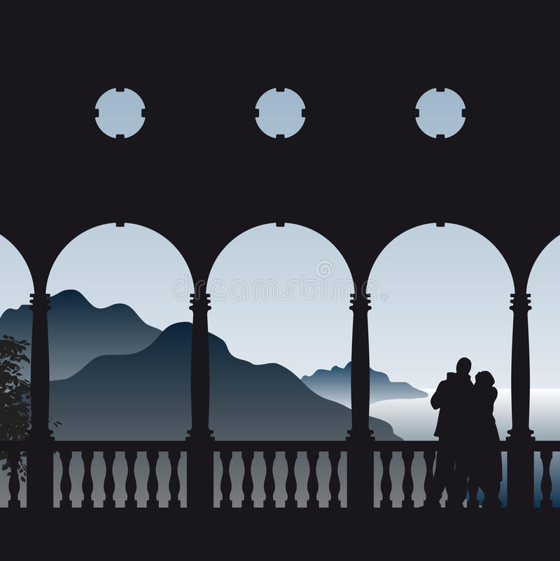 Couple in romantic scene. Illustration of a couple in love enjoying their romantic view to the sea from the balcony royalty free illustration