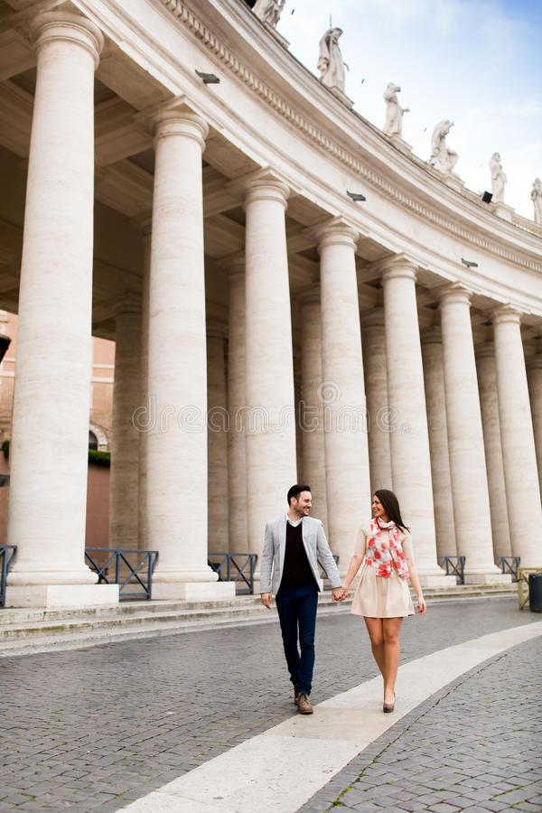 Couple in Rome. Loving couple at the St. Peter's Square in Vatican stock images