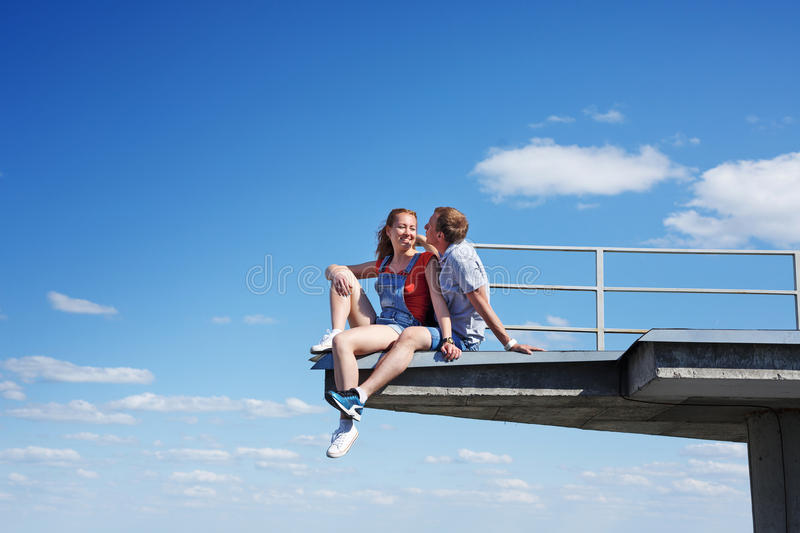 Couple of roofers in love stock photography