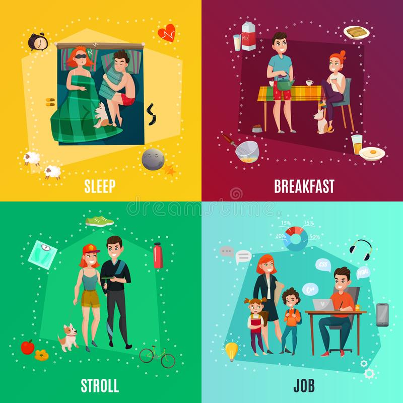 Couple In Daily Routine Concept royalty free illustration