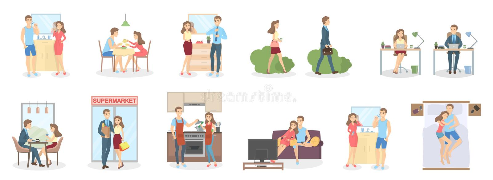 Couple daily routine. From morning till evening royalty free illustration