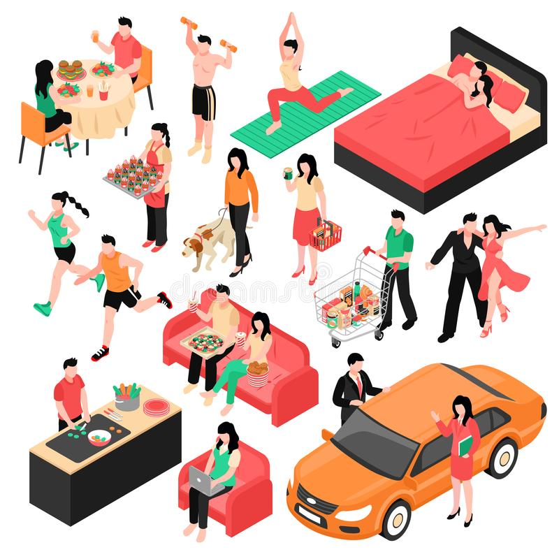 Couple Daily Routine Isometric Set. Daily routine man and woman isometric set couple during eating work shopping and sleep isolated vector illustration stock illustration