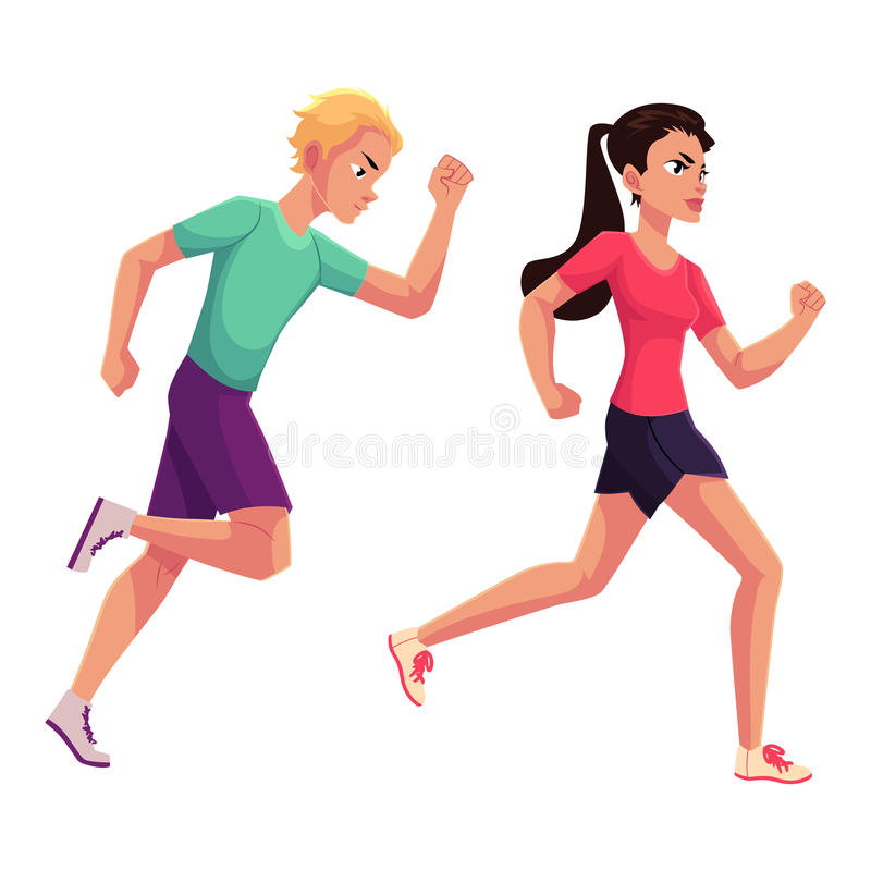 Couple of runners, sprinters running, race, competition, healthy lifestyle concept. Cartoon vector illustration on white background. Male and female runners royalty free illustration