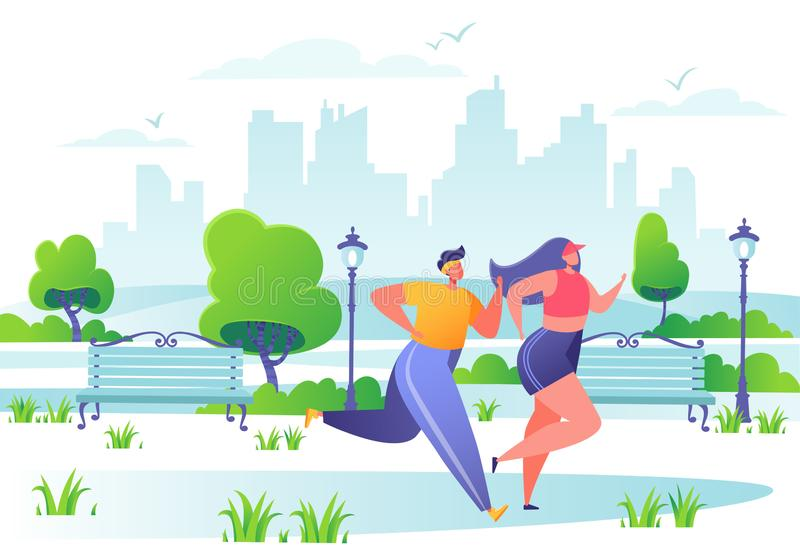 Man and woman characters running in the park. Happy active people doing workout outside. Couple running marathon.  Healthy lifestyle concept, fitness in the royalty free illustration